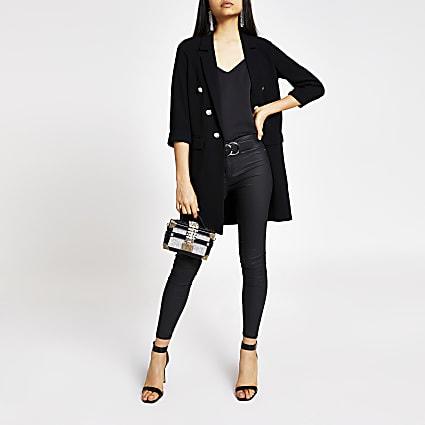 Black button front longline blazer jacket