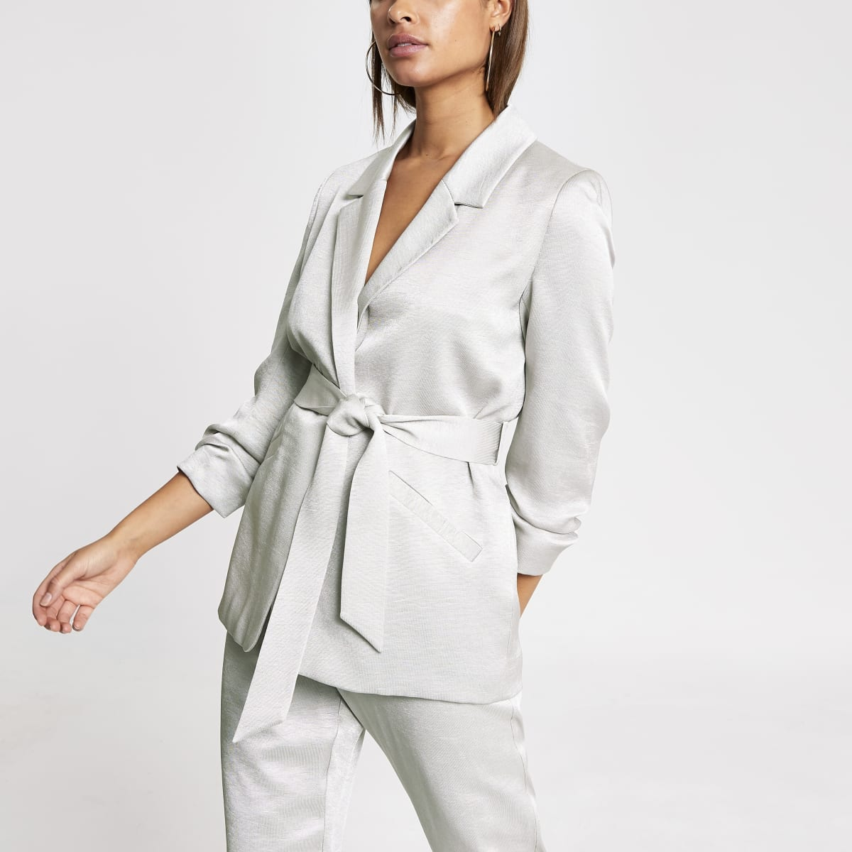 Silver belted ruched sleeve satin blazer