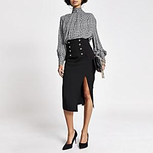 Jupe crayon noire avec taille haute corsetéeà boutons