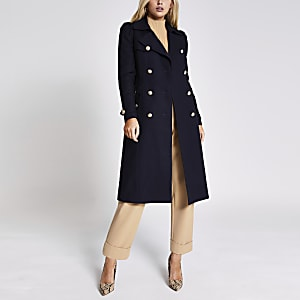 Marineblauwe double-breasted trenchcoat met pofmouwen