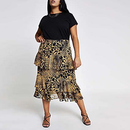 Plus brown printed tiered frill midi skirt