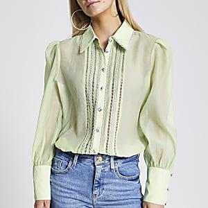 Petite – Besticktes, transparentes Hemd in Grün
