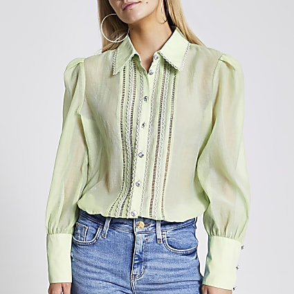 Petite green embroidered sheer shirt