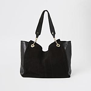 Schwarze, leicht ausgestellte Shopper-Tote Bag aus Wildleder