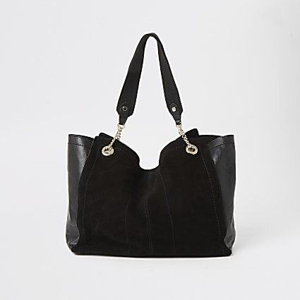 Black suede soft wing shopper tote bag