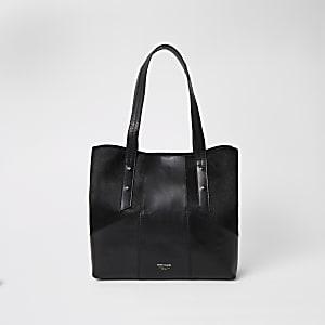 Cabas en cuir noir contrasté