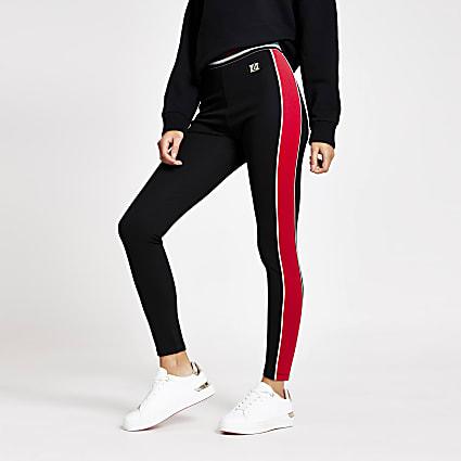 Black colour block side RI leggings