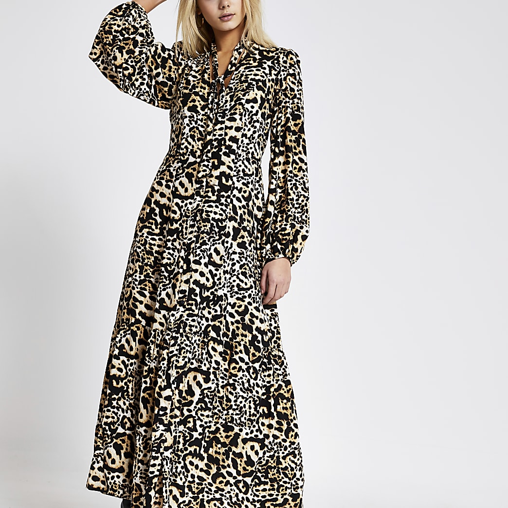 Beige leopard print tie neck midi dress