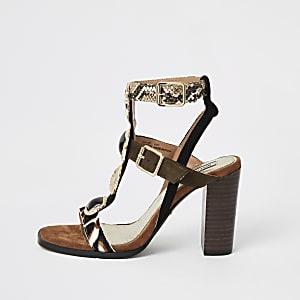 Brown embellished heeled gladiator sandals