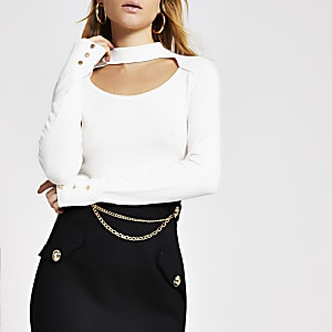 White cut out choker knitted jumper
