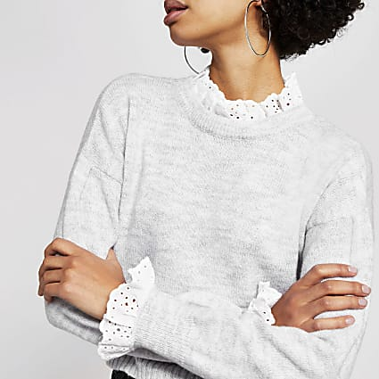 Grey broderie trim cropped knitted jumper