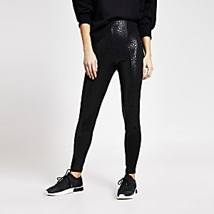 Leggings taille haute noirs impriméléopard