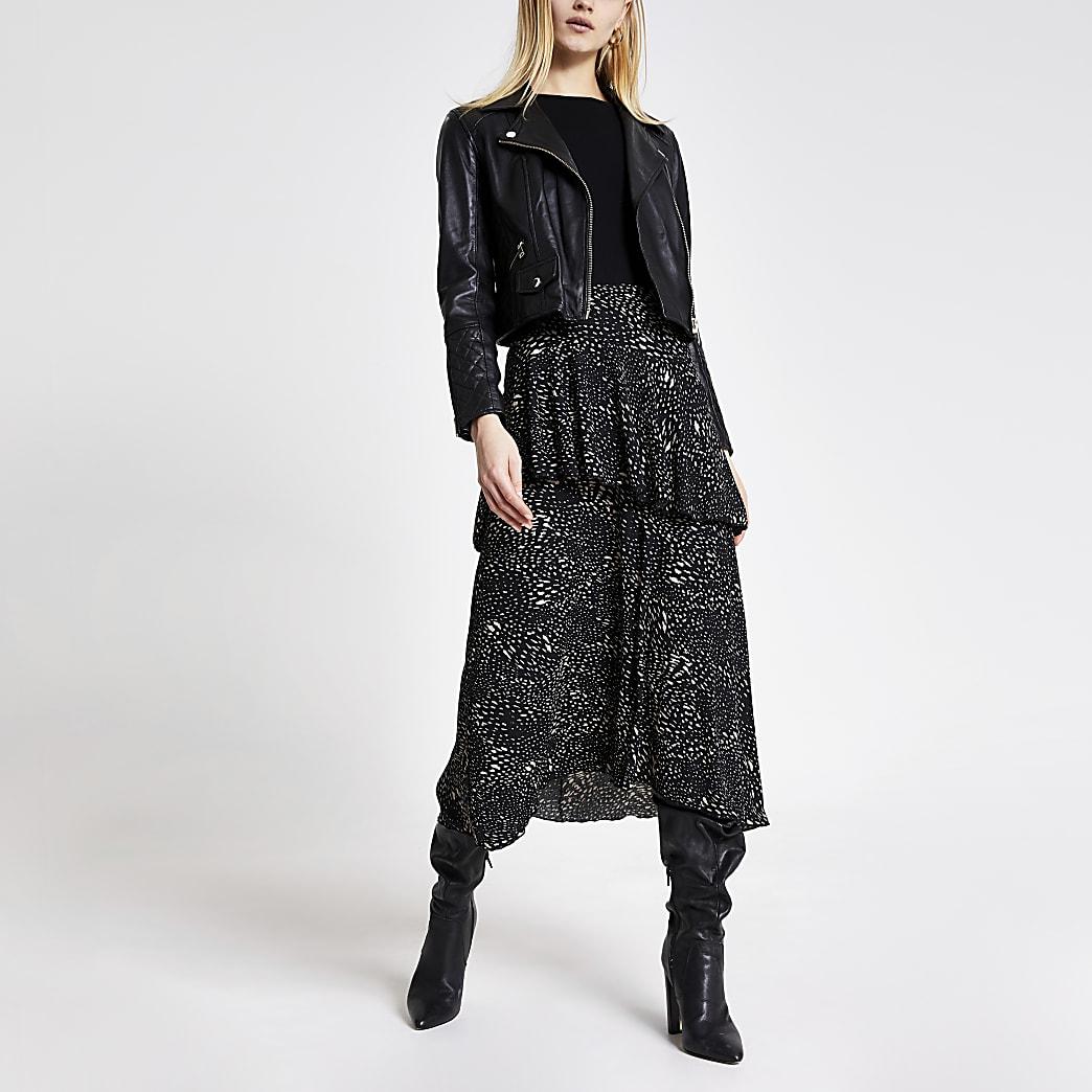 Black printed tiered frill midi skirt