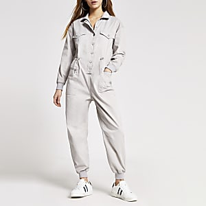 Petite grey drawstring denim boiler jumpsuit