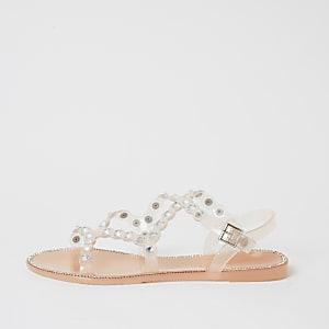 Roze jelly sandalen met siersteentjes