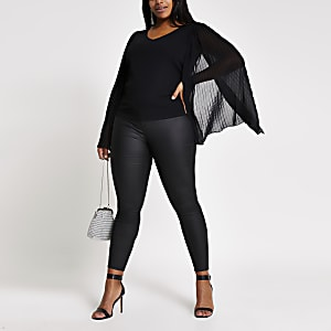 Plus black pleated sleeve V neck top