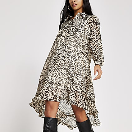 Petite beige animal printed midi shirt dress
