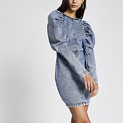 Blue puff sleeve bodycon denim mini dress
