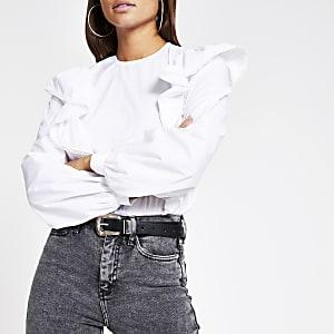 Witte blouse met lange mouwen en ruches