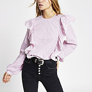 Langärmelige Rüschenbluse in Pink mit Streifen