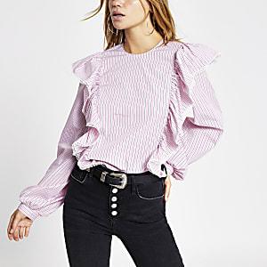 Roze gestreepteblouse met lange mouwen en franje