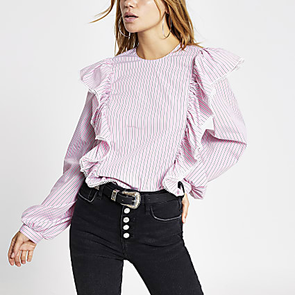Pink stripe long sleeve frill blouse