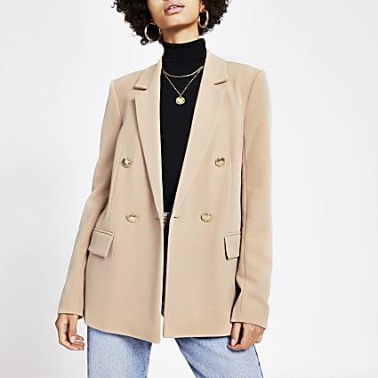 Beige double breasted structured blazer