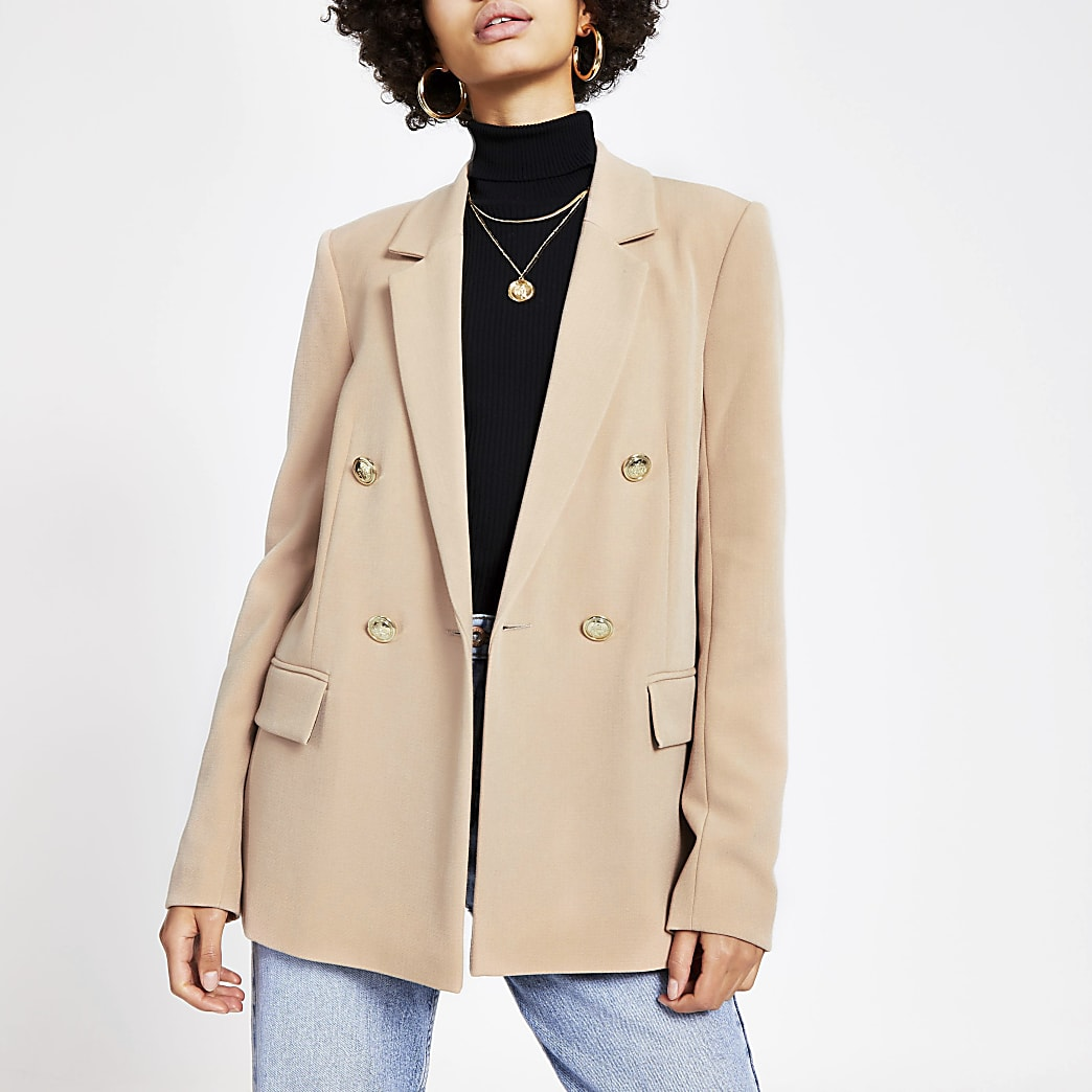 Beige double breasted structured blazer