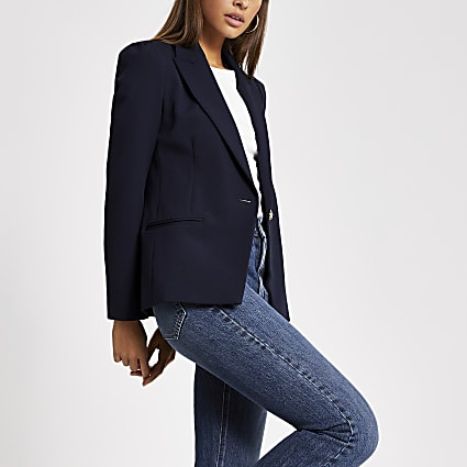 Navy long puff sleeve blazer