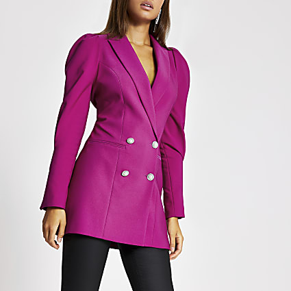 Pink puff sleeve double breasted blazer