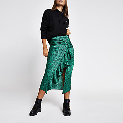 Green animal print twist front midi skirt