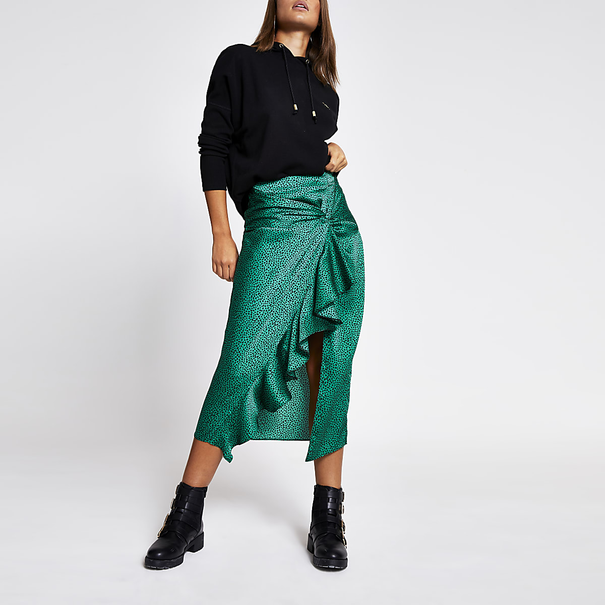 Green animal print twist front midi skirt