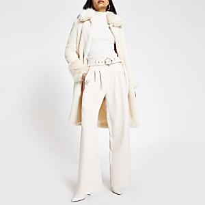 Pantalon large crèmeavec ceinture