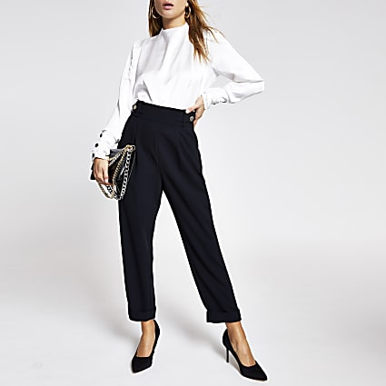 Black button side peg trousers