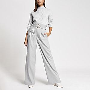 Grey belted waist wide leg trousers