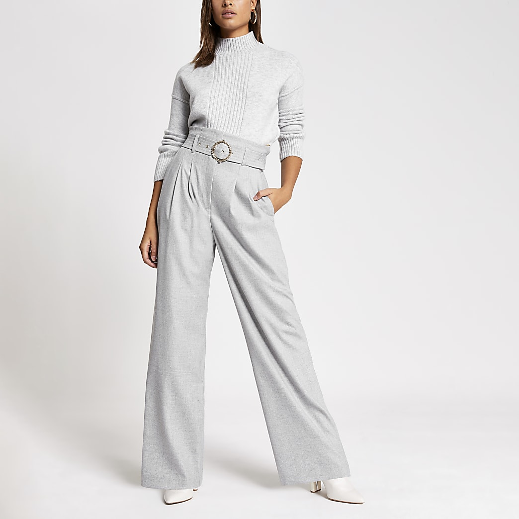 Grey belted waist wide leg trousers