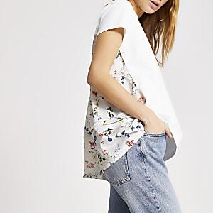 Weißes Loose Fit T-Shirt mit gewebtem Rückenteil mit Blumenmuster
