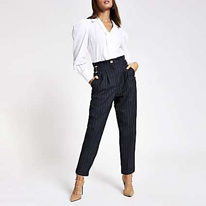 Navy pinstripe buckle peg leg trousers