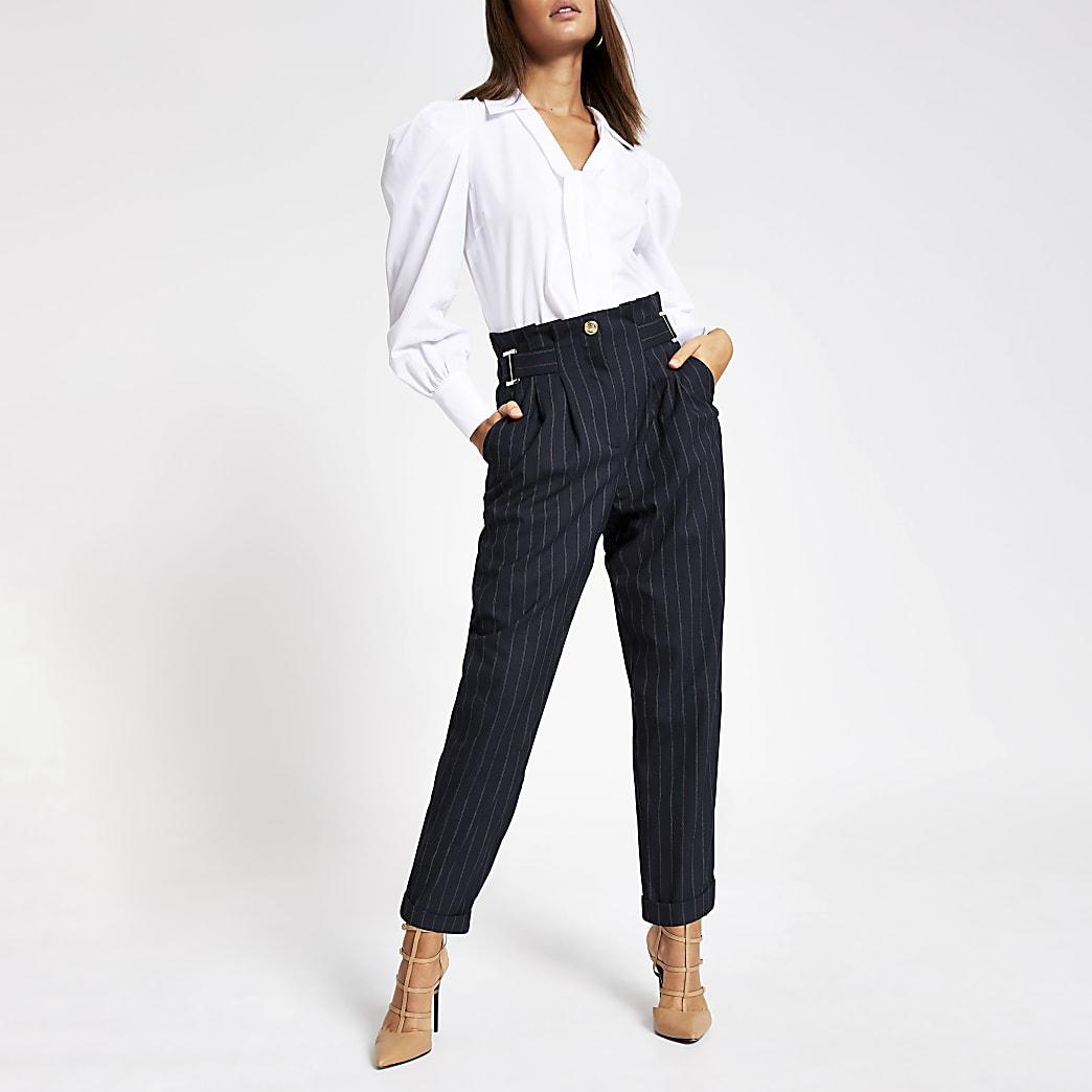 Navy pinstripe buckle peg leg trousers