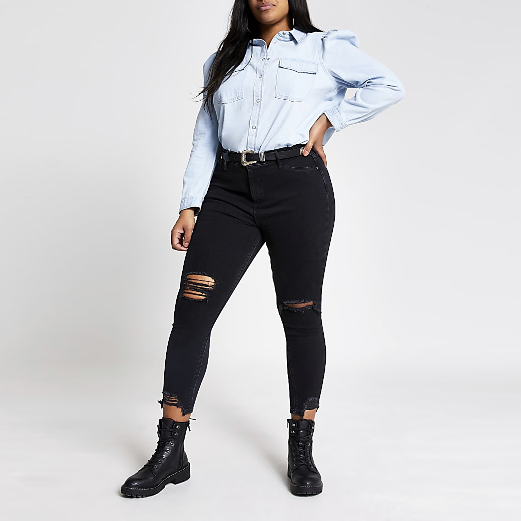 Plus blue long puff sleeve denim shirt