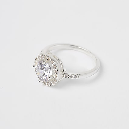 Silver large diamante embellished ring