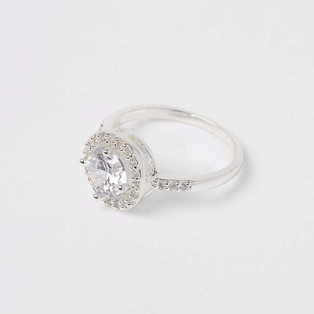 Silver colour diamante embellished ring