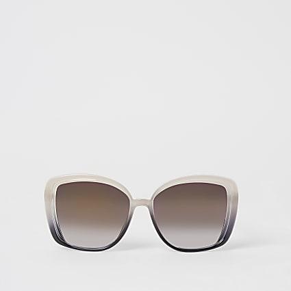Pink ombre oversized glam padlock sunglasses