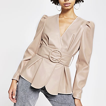 Pink faux leather long sleeve belted top