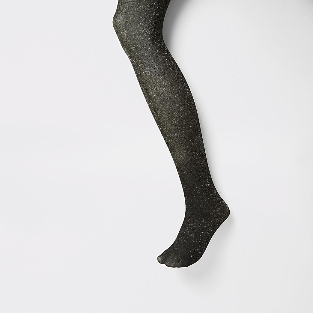 Black gold glitter embellished tights