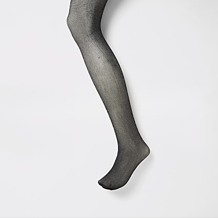 Black silver glitter embellished tights