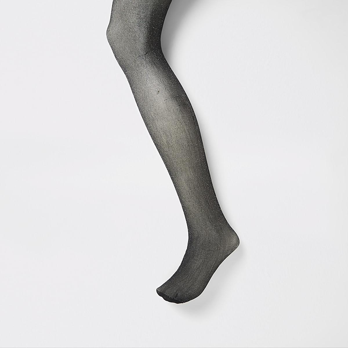 Black silver glitter embellished tights
