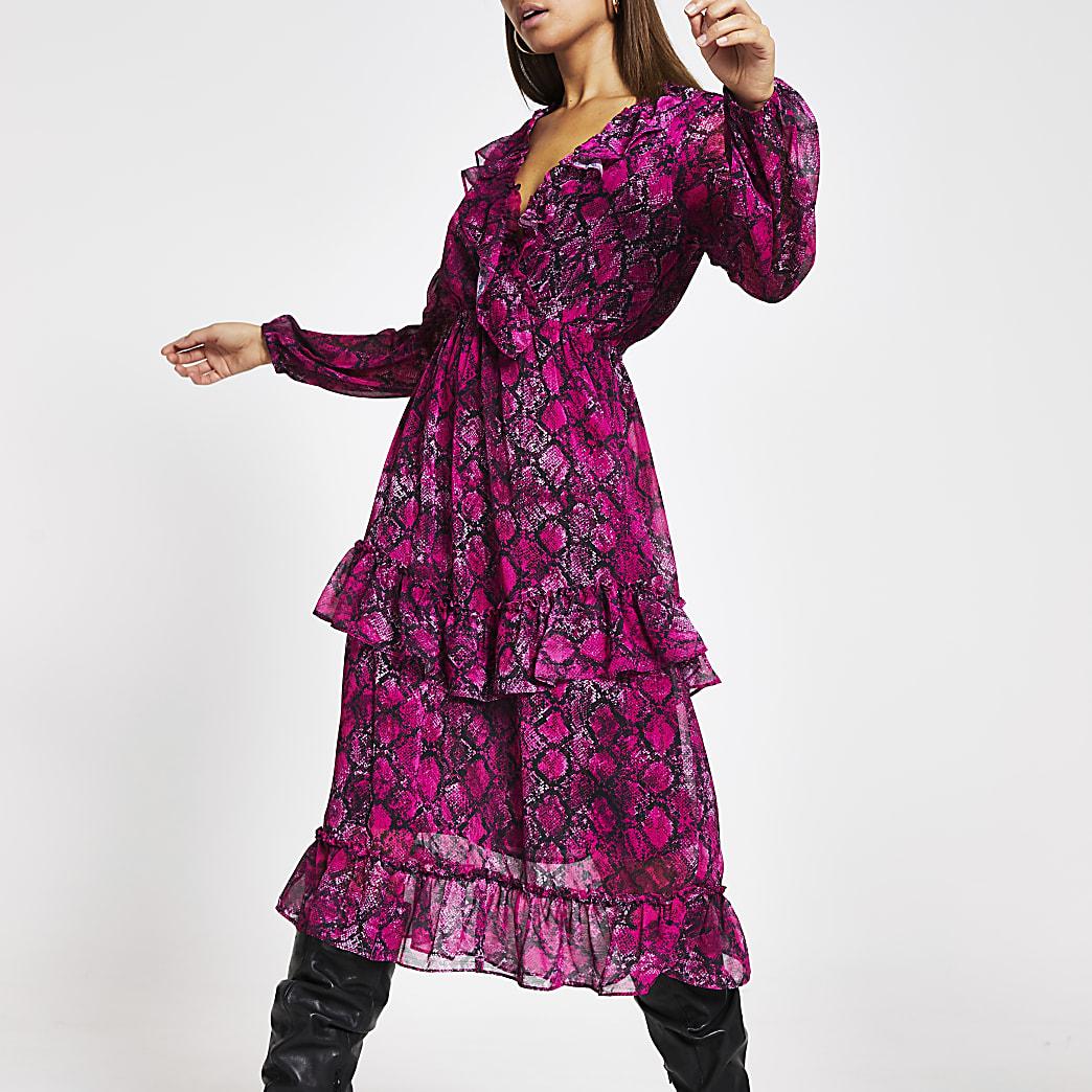 Pink snake printed frill wrap midi dress