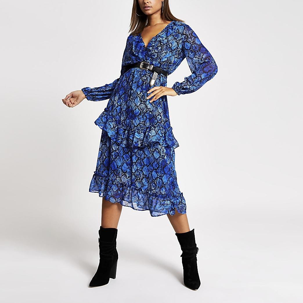 Blauwe midi-jurk met ruches, overslag en slangenprint