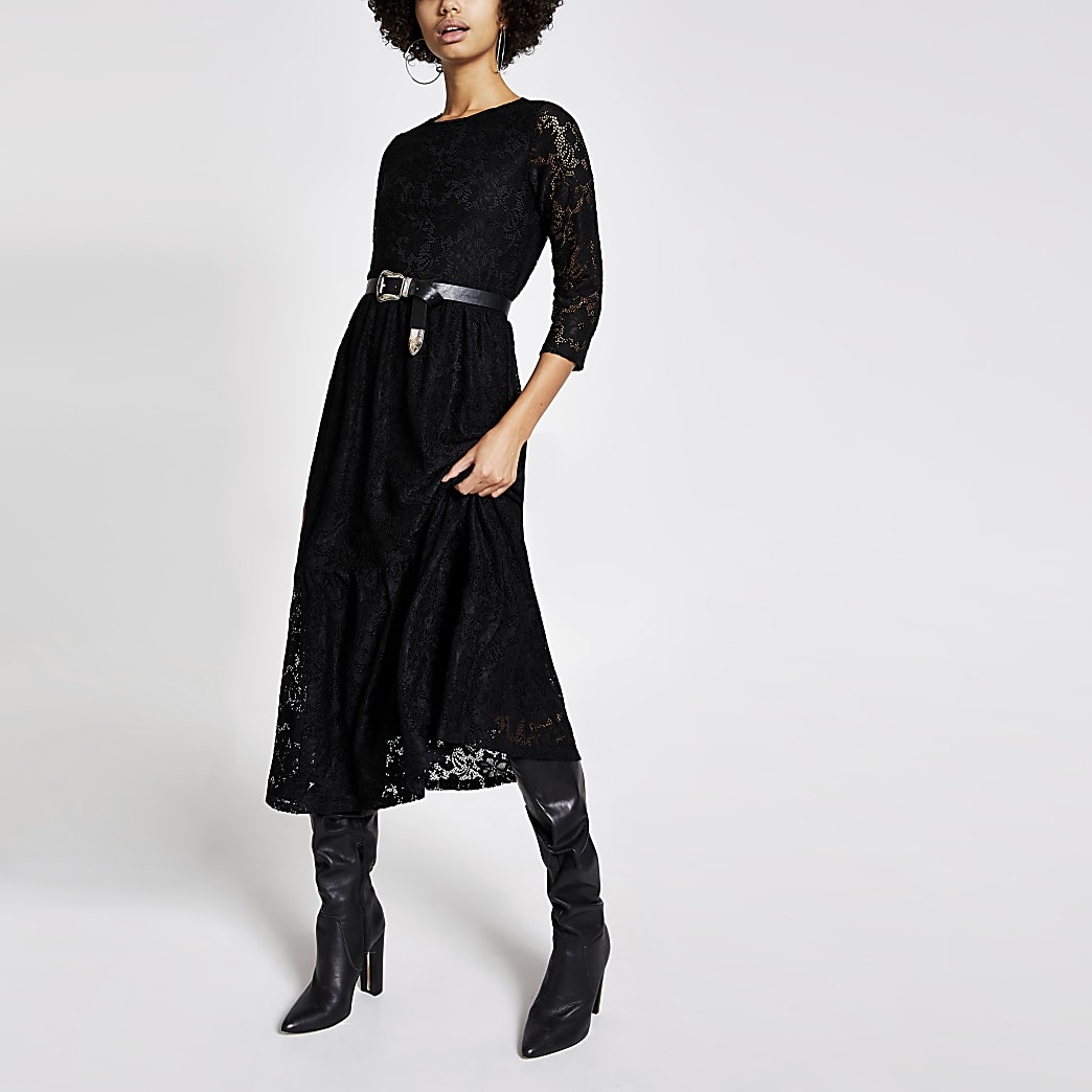 Black long sleeve lace swing midi dress
